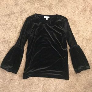 CALVIN KLEIN black widen long sleeves top